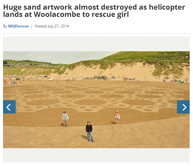 Huge sand artwork almost destroyed as helicopter lands at Woolacombe to rescue girl North Devon Journal2