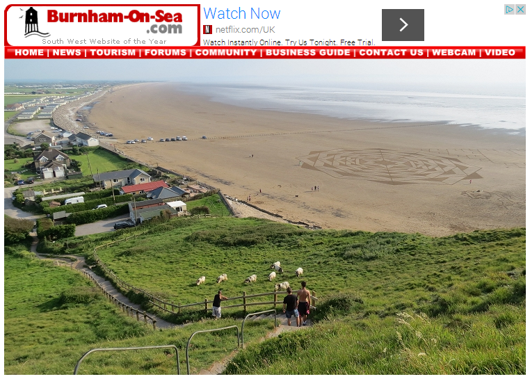 In photos 80 metre wide crop circle appears on Brean beach