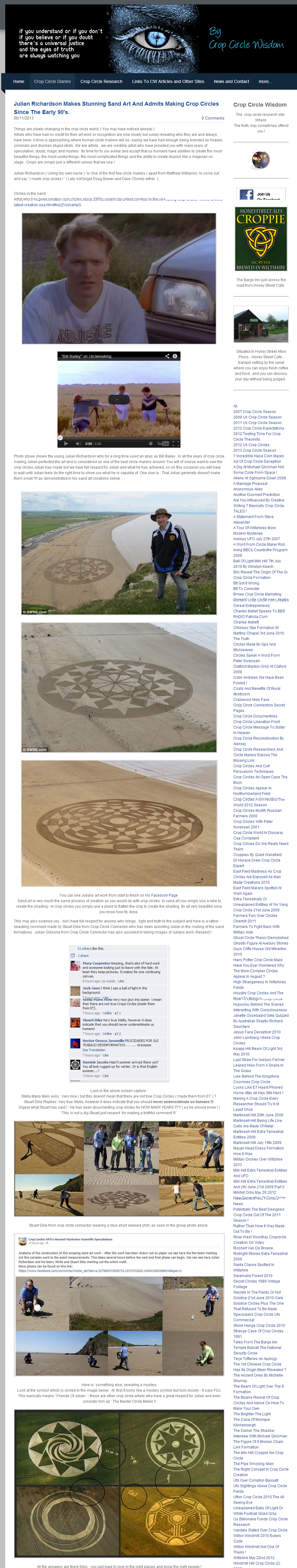 Julian Richardson Makes Stunning Sand Art And Admits Making Crop Circles Since The Early 90 s. Crop Circle Secrets Revealed