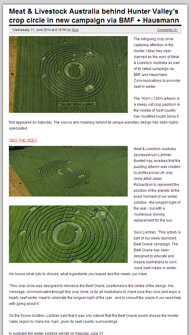 Meat Livestock Australia behind Hunter Valley s crop circle in new campaign via BMF Hausmann Campaign Brief Australia