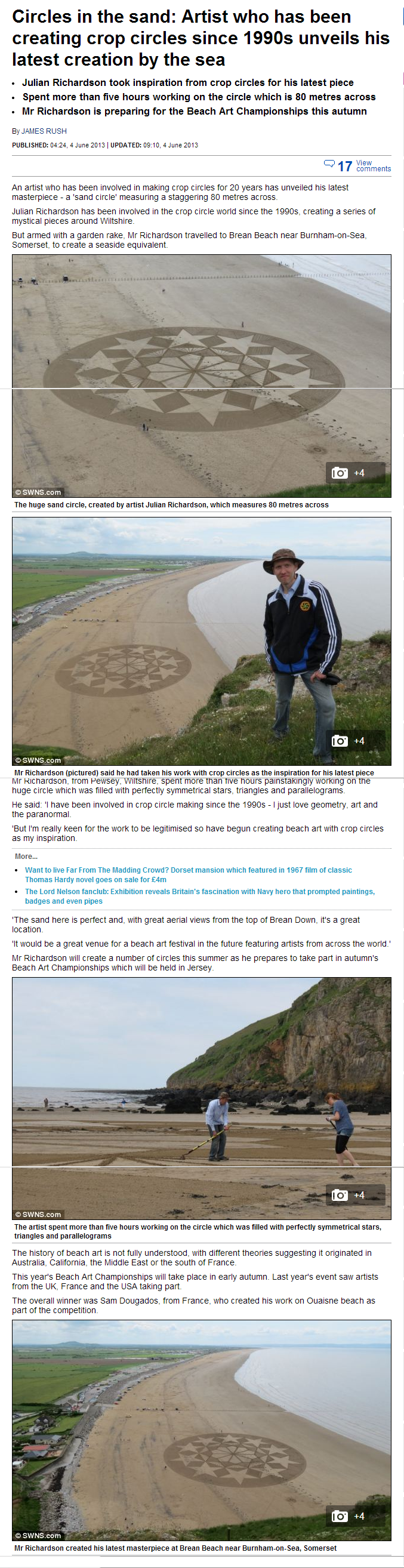 Sand Circles Artist involved in making crop circles since 1990s unveils his latest creation by the sea Mail Onlin